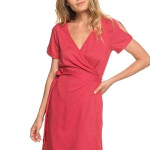 Roxy Monument View Short Sleeve Wrap Dress Small